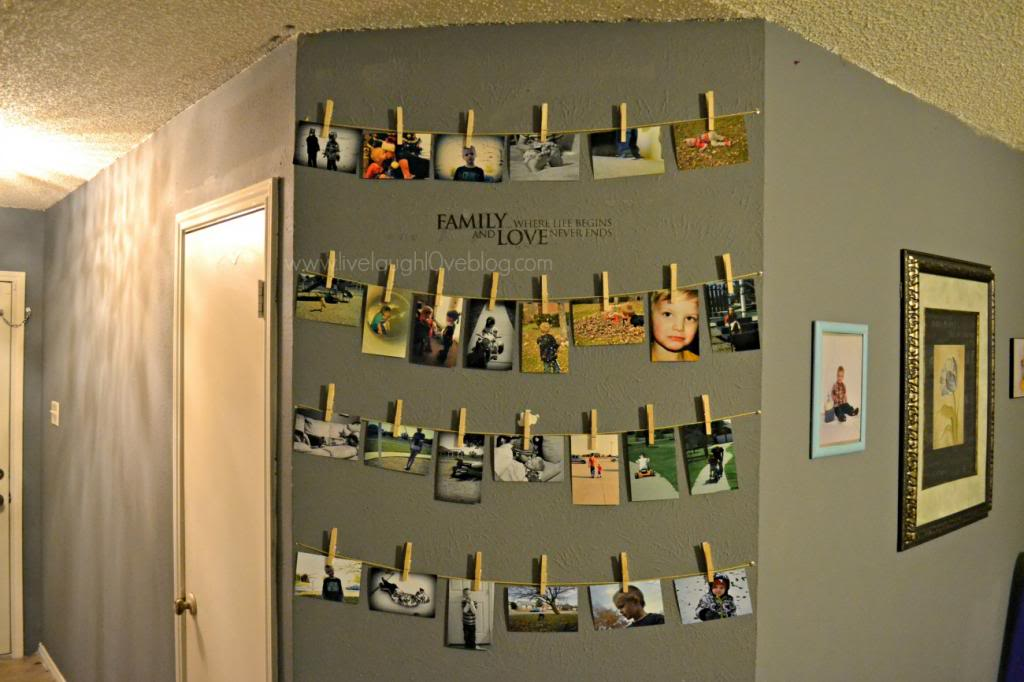 Beauty & The Boys // Our clothespin photo wall
